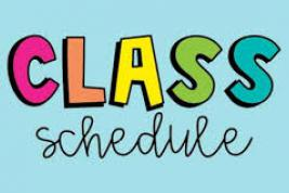 "The words ""Class Schedule"" in an aqua background."