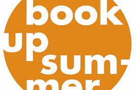"Orange circle with the words ""Book Up Summer"" in white in the center."