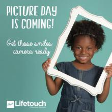 Picture day is coming,get those smiles, camera, girl holding a frame around her face posing for a picture.