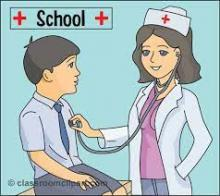 "Image of a nurse checking a student's breathing with a stethoscope. With the word ""School"" above the boy."